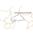 Central African Republic hand-drawn sketch map vector image