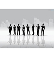 Businessman Silhouettes with building background vector image