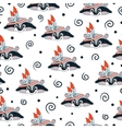 raccoon doodle seamless pattern background vector image