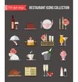 Restaurant icons set Flat style design vector image