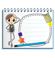 A notebook with an empty nametag vector image vector image