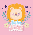 baby shower cute lion head hearts flowers vector image vector image