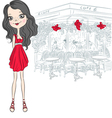 Beautiful fashion girl in red elegant short dress vector image vector image