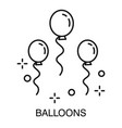 birthday party balloons isolated outline icon vector image