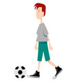 boy playing football on white background vector image vector image