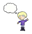 cartoon boy asking question with thought bubble vector image vector image