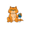Cat Holding Computer Mouse vector image vector image