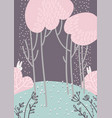 childish abstract forest landscape with pink vector image vector image