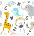 childish seamless pattern with hand drawn animals vector image vector image