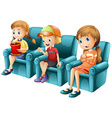 Children sitting on blue sofa vector image vector image