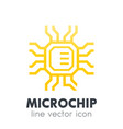 chipset microchip icon on white vector image vector image