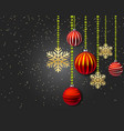 christmas decoration with red balls and gold vector image