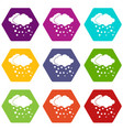 cloud and snow icon set color hexahedron vector image vector image