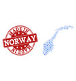 collage map of norway with gear links and made in vector image