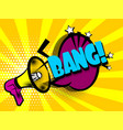 comic book text advertising megaphone bang vector image vector image