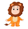 cute baby wearing a lion suit vector image