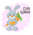 cute cartoon bunny with a carrot vector image vector image