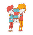 delivery men with package box distribution vector image vector image