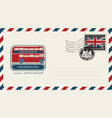 envelope with london doubledecker and flag of uk vector image vector image