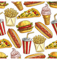 fast food meal snacks and dessert seamless pattern vector image vector image