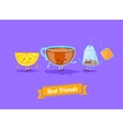 funny cartoon Funny cup lemon and teabag vector image vector image