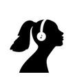 girl listen music in headphones vector image vector image