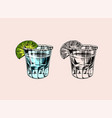 glass shots with strong drink vintage mexican vector image vector image