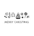hand drawn christmas set of sweets on white vector image