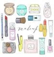 Hand drawn cosmetics set Beauty and makeup vector image vector image