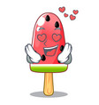 in love red watermelon ice cream cartoon shaped vector image vector image
