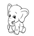 infant elephant sitting coloring book image vector image vector image