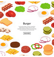isometric burger ingredients background vector image