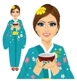 Japanese pretty woman holding cup of green tea vector image vector image