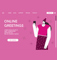 landing page online greetings concept vector image
