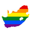 lgbt flag map of south africa rainbow map of vector image