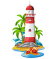lighthouse and hermit crabs on beach vector image vector image