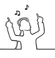 Listening to music through headphones vector image