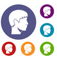 man head icons set vector image vector image