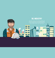 oil industry with worker and factory icons vector image vector image