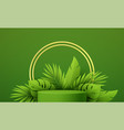 product podium with green paper cut tropical vector image vector image