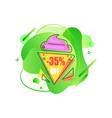 sale emblem 35 percent off abstract liquid shape vector image vector image