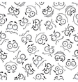 Seamless cartoon emoticon faces pattern vector image vector image