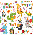 seamless pattern with funny animals happy birthday vector image vector image