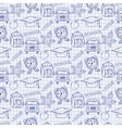 Seamless school pattern with varios elements on vector image vector image