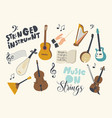 set icons stringed instruments theme dombra vector image
