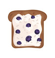 slice of fresh toasted rye bread with cottage vector image vector image