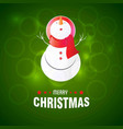 snowman with green background vector image vector image