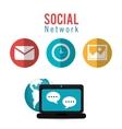 social network computer dialogue world vector image vector image