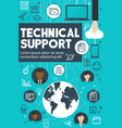 technical support and customer service banner vector image