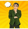Thoughtful Businessman Pop Art vector image